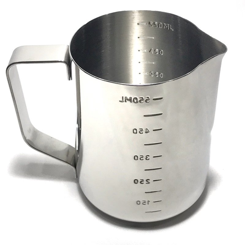 《3557》Pearl Horse寶馬牌二合一刻度拉花杯+刻度測量杯600ml ㊣18-8不鏽鋼杯 烘焙 手工皂