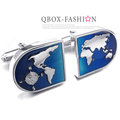 《 QBOX 》FASHION 配飾【W10023397】精緻個性世界地圖電鍍銅質造型袖扣