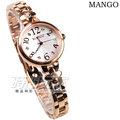 MANGO 雪國的世界 數字鑲鑽小圓錶 珍珠螺貝面盤 玫瑰金色 女錶 MA6666L-81R
