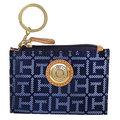 TOMMY HILFIGER 深藍織布真皮飾邊卡夾鑰匙零錢包