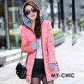 【CHACO CHACO】韓系 修身時尚併接手套配色連帽羽絨棉長版外套(3色)