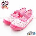 【哈鞋網】迪士尼 Disney 經典米妮樣式 粉嫩色系 可愛蝴蝶結滿版設計 鬆緊帶固定 一腳登式 帆布休閒鞋 KRM454421F 粉色