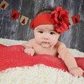 Jamie Rae 小女童/女生髮帶 髮帶(粗)/嬰兒/女童 紅底紅玫瑰 HREEEE