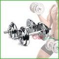 組合式啞鈴20公斤(20kg/10kg兩支/槓片/電鍍片/槓心/固定環/重量可調)