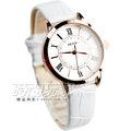 KEZZI珂紫 經典時尚腕錶 皮帶女錶 白x玫瑰金 KE994玫白小