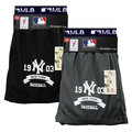 【MLB 大聯盟 】竹炭吸濕排汗平口褲*2入 (灰/藍 2色隨機)