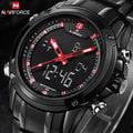 雙顯示手錶軍錶非g-shock精工SEIKO鋼帶錶雙顯示機芯時尚黑帶紅字鋼帶錶男錶軍錶雙色【NA102】
