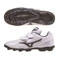 「野球魂」--「MIZUNO」【FRANCHISE F Jr.】系列兒童用低統樹脂底膠釘鞋(11GP144214,白×深藍色)
