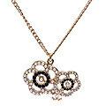 CHANEL 香奈兒迷你雙C LOGO雙色珍珠鑲嵌鏤空山茶花設計項鍊(黑X金)95035-BLK-OR