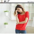 【H.T】全新/現貨 玄太服飾 簡約幾何織紋連身袖針織上衣(紅)