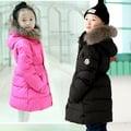4韓版童裝冬季新款5女童中長款大毛領羽絨服6-8-9歲加厚大衣外套玫紅色110cm(110cm)