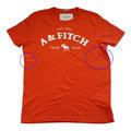 Abercrombie & Fitch 亮橘色經典LOGO麋鹿男生T恤(XL)(展示品)-左右側有幾處染色