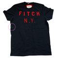 Abercrombie & Fitch 深藍色紅字刺繡LOGO男生T恤(XL)(展示品)-左側有一處染色