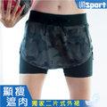 【Un-Sport高機能】時尚雙層防走光防滑裙式短褲(馬拉松/路跑/健身) -星幻黑