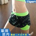 【Un-Sport高機能】時尚雙層防走光防滑裙式短褲(馬拉松/路跑/健身) -螢光綠