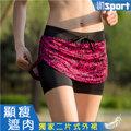 【Un-Sport高機能】時尚雙層防走光防滑裙式短褲(馬拉松/路跑/健身) -豹紋粉