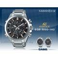 CASIO 時計屋 卡西歐手錶 EDIFICE EQB-500D-1A2 男錶 不鏽鋼錶帶 碼錶 世界時間 防水 保固