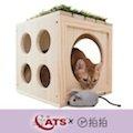 【4catsx拍拍】【預購免運】貓咪遊樂場WOODEN CUBE原木方格櫃+貓草小老鼠
