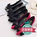 玫紅色38標準碼2016春季新款尖頭單鞋女女鞋蝴蝶結仿真皮細跟中跟高跟鞋紅色婚鞋