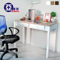 古典雙抽100CM書桌(胡桃色) 電腦桌 辦公桌工作桌 防潑水MDF零甲醛 實木腳 法式典藏風 Amos【DCA024】
