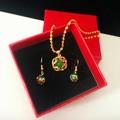 歐幣金綠貓眼石吊墜項鏈仿黃金女款寶石項鏈三件套套裝久不掉色