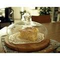 *微加幸福雜貨小築*ZAKKA日式 玻璃 竹製 蛋糕罩 點心罩 下午茶蛋糕盤 展示盤 乳酪盤 麵包盤 食物罩 5寸適用 小款 [一組]