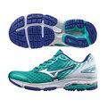 美津濃MIZUNO 慢跑鞋的代名詞 WAVE RIDER 19 女慢跑鞋 粉綠X銀X白 J1GD160304