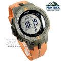 PRO TREK CASIO卡西歐 太陽能電力 原野時尚風格戶外活動登山錶 男錶 灰框x橘 PRG-300-4 PRG-300-4DR