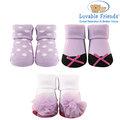 美國 Hudson Baby/Luvable Friends 嬰幼用品 寶寶造型襪 0-9M (3件組) - 俏皮粉紫