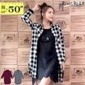 襯衫--經典品味百搭款休閒後打摺前口袋中長款格紋襯衫/外套(黑.紅XL-4L)-I168眼圈熊中大尺碼