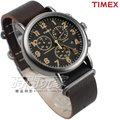TIMEX 天美時 夜光顯示 三眼多功能計時碼錶 皮帶腕錶 深咖啡色 男錶 TXT2P85400