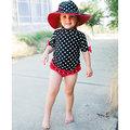 ★MerryGoAround★ RuffleButts Swimsuit: 2件組短袖上衣+泳褲泳裝套裝: 黑色點點: RB-SS-40536