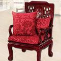 【凱蕾絲帝】富貴牡丹(紅)~實木椅專用絨布緹花記憶聚合坐墊(54*56CM)-1入
