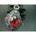 古玩雜項收藏 景泰藍鑲紅鋯石掛墜 吊墜 朝珠配件
