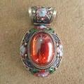古玩雜項收藏 景泰藍鑲紅鋯石掛墜 吊墜 朝珠配件 特價120