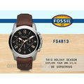 CASIO 時計屋 FOSSIL手錶 FS4813 男錶 石英錶 皮革錶帶 防水 強化玻璃鏡面 (黑色錶帶FS4812)