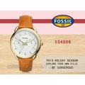 CASIO 時計屋 FOSSIL手錶 ES4006 女錶 石英錶 皮革錶帶 防水 (另有ES4007 ES3713)