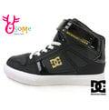 DC男童板鞋 (中大童) SPARTAN HIGH EV SN 高筒 黑 金 魔鬼氈 休閒運動鞋J9421#黑色◆OSOME奧森童鞋/小朋友