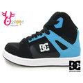 DC男童板鞋 (中大童) REBOUND SE 黑 藍 高筒 輕量透氣 百搭休閒運動鞋J9424#黑藍◆OSOME奧森童鞋/小朋友