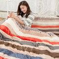 現貨免運 Lapin 簡約條紋 雙人 法蘭絨舖棉床包枕套兩用被套 冬包四件組