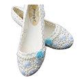 【CaiLing】玫瑰花珍珠防水輕便雨鞋(藍玫瑰)
