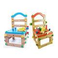 【第二代高檔實木】兒童益智親子DIY積木椅(兩色可選)