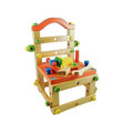 【第二代高檔實木】兒童益智親子DIY積木椅(紅)