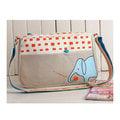 【Ameber】大象吃apple創意塗鴉帆布包側背包(卡其)