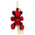BURBERRY 格紋喀什米爾 THOMAS 泰迪熊墜飾 鮮紅色
