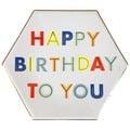 美國MERI MERI 【繽紛生日派對系列】生日快樂彩色英文字母餐盤-大45-2829
