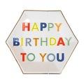 美國MERI MERI 【繽紛生日派對系列】生日快樂彩色英文字母餐盤-小45-2830