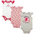 【HELLA 媽咪寶貝】美國 luvable friends 嬰幼兒短袖包屁衣3件組 小花大象 (LF50792)