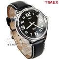 TIMEX 天美時 復刻冷光系列 夜光顯示 美式風格數字真皮男錶 防水手錶 學生錶 黑 T28071
