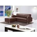 【GA615-6】 戴爾咖啡色L型皮沙發(全組)(3人座+收納型腳椅)